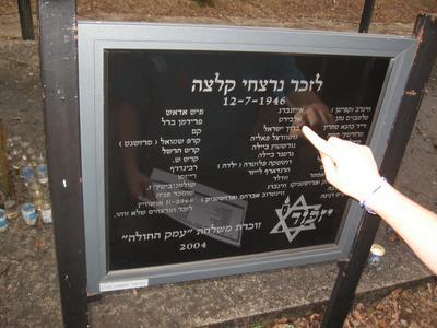 Мемориальная доска евреям, погибшим при погроме в Кельце